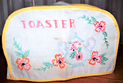 """6 1/2"""" x 10"""" x 5"""" White Linen Embroidered Toaster Cover (Yellow) (Tea Pot/Flower"""