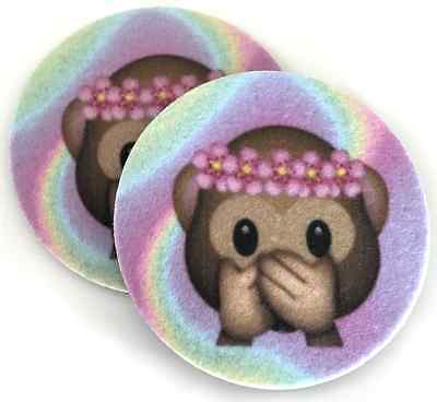 Auto coasters -Set of 2 super absorbent Monkey Face Car Coasters for cup holders