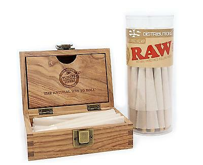 RAW Organic 1 4 Pre Rolled Cones with Filter Tips Bundle 75 Pack Storage Box
