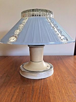Art Deco Ceiling Mount Light Fixture Blue Glass Shade