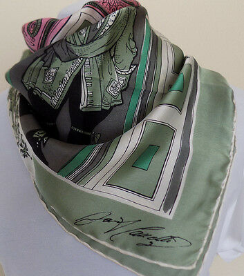 Vintage Scarf French Court Green Pink Black White 100% satin silk SIGNED