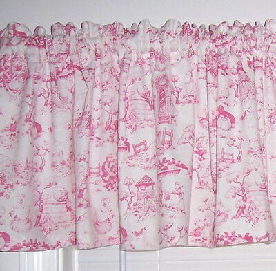 Sweet Baby Girl Pink Nursery Rhymes Themed Toile English Curtain Valance New