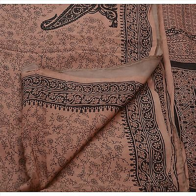 Sanskriti Vintage 100% Pure Silk Saree Peach Paisley Printed Sari Craft Fabric