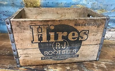 "Antique HIRES ROOT BEER WOOD CASE 17.25""x11.375""x10"" Vtg 30s Wooden Crate"