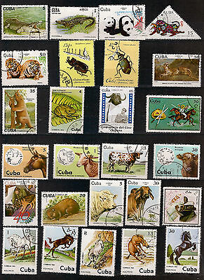 26 stamps defaced ANIMALS domestic,farm and sauvages 117T5