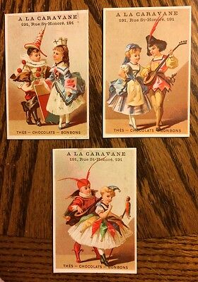 Lot of 3 A La Caravane Children in Fancy Costumes Trade Cards