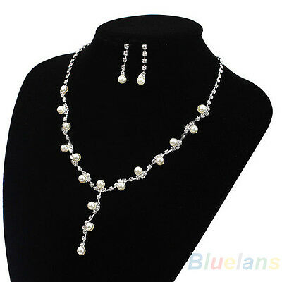 Pearl & Crystal Set of Necklace Earrings Prom Wedding Party Bride Bridesmaid