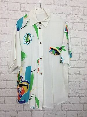 ⭐️ FAULTY Vintage 90's Womens White Neon Bright Abstract Festival Shirt