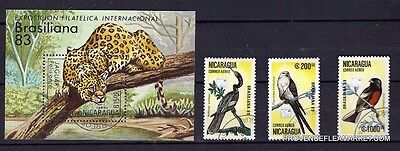 124T2 NICARAGUA 1 bloc and 3 stamps defaced:Jaguar and birds