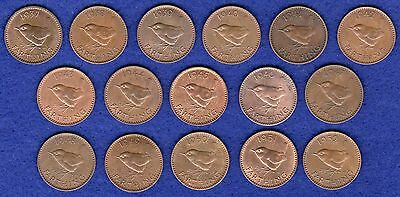 GB, Farthings, George VI, 1937 to 1952, Complete Date Run, 16 Coins (Ref. t0545)