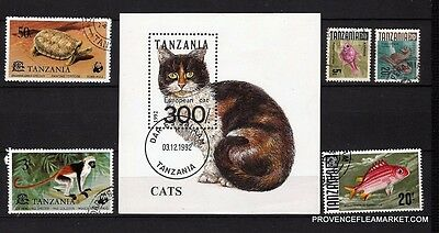 134T1 TANZANIA 1 bloc and 5 stamps canceled cat,monkey,tortue,fish