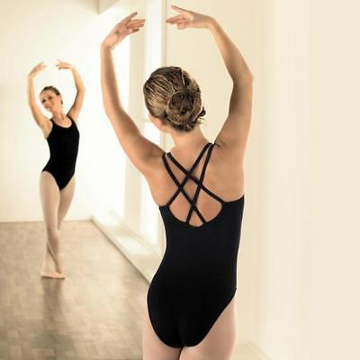 Capezio Girl's & Ladies leotard - Black double strap camisole leotard CC123