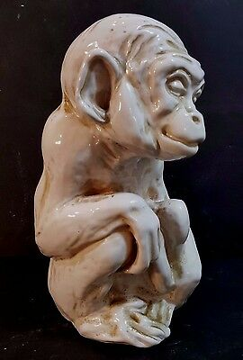 "Vintage Hand Crafted Glazed White Terracotta Monkey Figurine From Italy  9"" Tall"