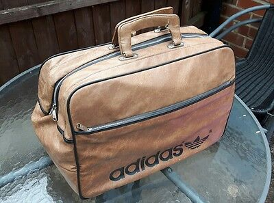 Adidas Vintage 70's Large Brown Holdall Weekend Bag Festival Made In Yugoslavia