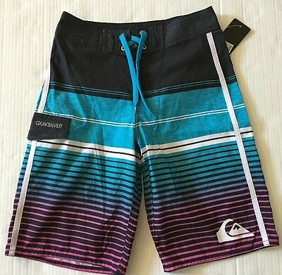 NWT Quiksilver Youth Boy Striped Blue Board shorts Swim Surf Trunks Sz 28