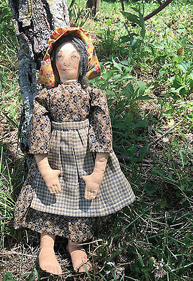 Vintage Cloth Rag doll- BIG feet~ AMAZING Face~Great OLD fabric on dress-12""