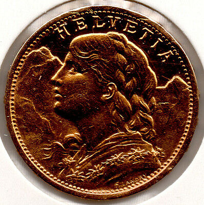 Swiss UNCIRCULATED 20 Franc Vreneli Solid Gold Coin 1902 FULL LUSTRE Scarce!!!