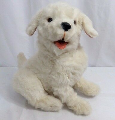 """Hasbro Fur Real Friends White Dog Interactive Barks Head Moves 15"""" tall 2010"""