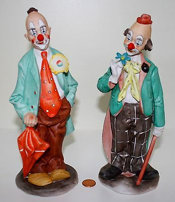 Pair of Beautiful Large Handpainted Vintage Bisque Clown Figurines Japan