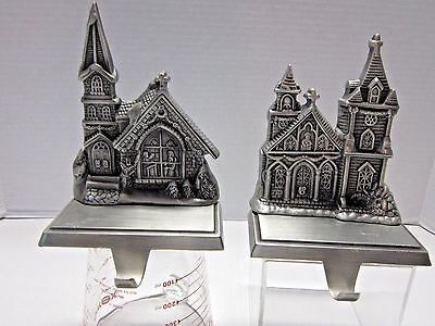 GUC Set of 2 Heavy Christmas Stocking Holders Hangers Church Scene Mantle Hooks