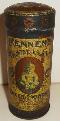 e1900's VHTF MENNEN'S TOILET POWDER tin FOR BABY or BARBER-BORATED TALC