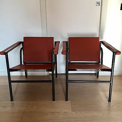 Pair of CHAIRS LC1 CASSINA designed by Le Corbusier