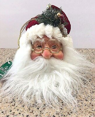 Kurt Adler Jacqueline Kent Santa Claus Burgundy Head Christmas Ornament JK0173