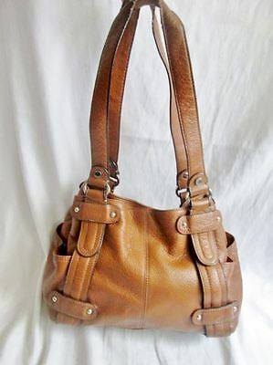TIGNANELLO Pebbled Leather Shoulder Bag Handbag Satchel Tote CAMEL BROWN Hobo