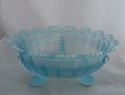 Vintage Blue Opalescent Fluted Scrolls Ribbed Scalloped Edge Glass Footed Bowl