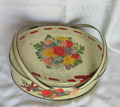 Vintage Swing Handled Oval Tin Litho Floral Flowers Bouquet Cookie Biscuit Tin