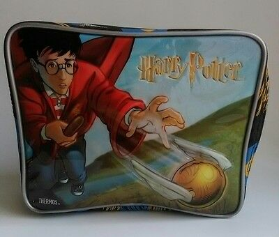 Harry Potter Thermos Soft Side Vinyl Insulated Lunch Bag Box Quidditch 2001 Rare