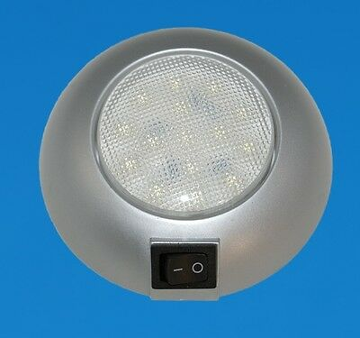 """LED Boat/Caravan Ceiling Light - 4"""" Surface - Silver with Cool White LEDs - 12V"""