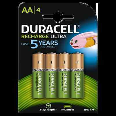 Pack de 4 piles AA Duracell recharge ultra lasts 5 years HR6 2500 mAh