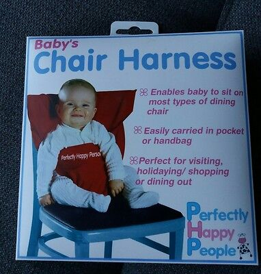 """Perfectly Happy Person"" Baby Chair Harness in Red - plus box & instructions"