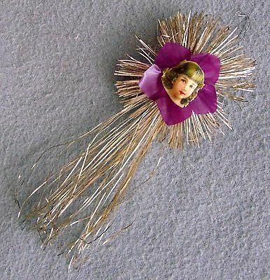 Antique German Christmas Tree Ornament Tinsel Comet With Angel ca.1910