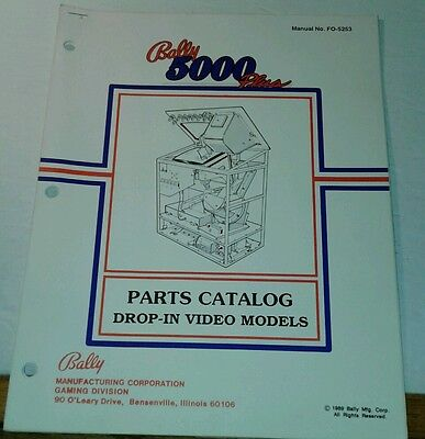 Bally Slot machine MANUAL - Series 5000 Plus, Owners Original Parts Catalog