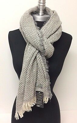 Men's Winter Warm Long Scarf HerringBone Tweed Tassel Shawl Wrap NEW, Gray/Beige