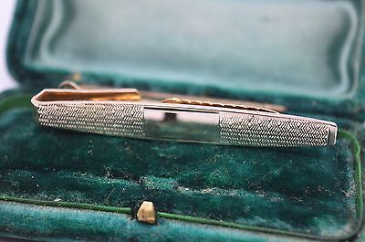 Vintage yellow metal tie clip in the art deco style #T530