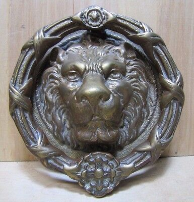 Large Lions Head Bronze Brass Decorative Art Door Knocker Architectural Hardware