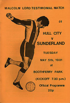 1980/81 Hull City v Sunderland, Malcolm Lord Testimonial - PERFECT CONDITION