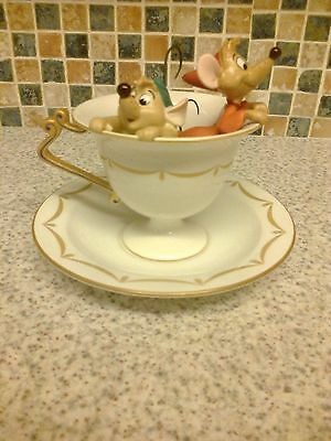 "Wdcc Cinderella Figurine Gus And Jaq ""tea For Two"" Inside Cup & Matching Saucer"
