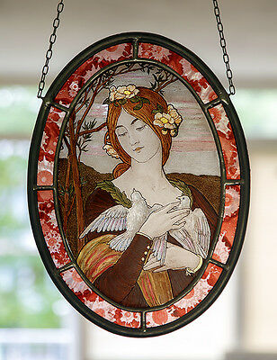 Art Nouveau stained glass, girl with doves suncatcher, kilnfired glasspainting