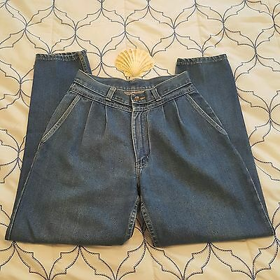 Vtg tiger TIGER Jeans Juniors sz 9 MADE IN USA Super HIGH WAIST PLEATED INDIGO
