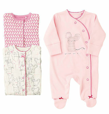 ВNWT NEXT Babygrows Outfit •Pink Character Sleepsuits 3pk •100% Cotton • 6-9Mon