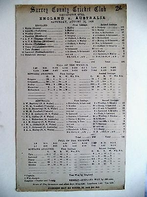 ENGLAND v AUSTRALIA 5TH TEST AT THE OVAL 1926 ASHES FULLY PRINTED SCORECARD