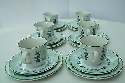 Staffordshire Topiary Six Cups, Saucers and side plates