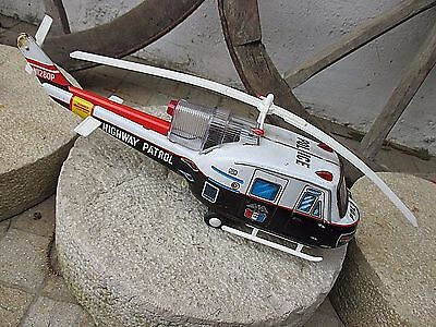 Vintage Rare 1960's Japan TN Nomura Tin Toy Police Helicopter Highway Patrol