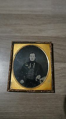 Antique Ambrotype Photo On Glass Victorian Gent