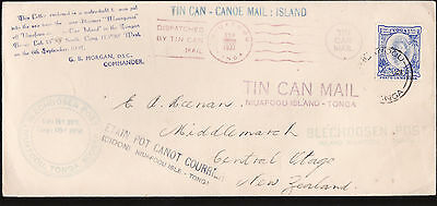 TONGA : TIN CAN CANOE MAIL COVER MULTIPLE STAMPINGS VERY RARE  zz