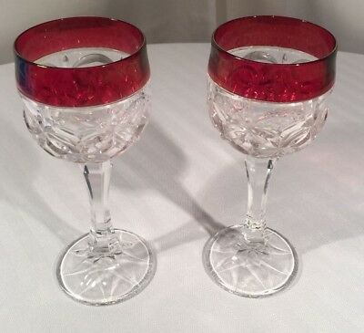 (2) Vintage Ruby Stained Flash -  Wine Goblets Glasses - Gorgeous  Stems Red